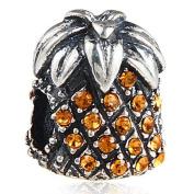 Pineapple Charm 925 Sterling Silver Lucky Charm Christmas Charm Fruit Charm for Pandora Bracelet
