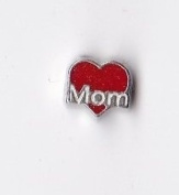 Red Mom Heart Floating Charm