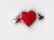 Red Heart with Wings Floating Charm