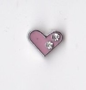 Pink Heart with 2 Crystals Floating Charm