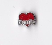 Family Red Heart Floating Charm