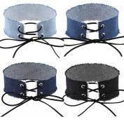 Tpocean Fashion Blue Jean Denim Lace-up Choker Necklaces Set 4 Colours For Women Girls Adjustable