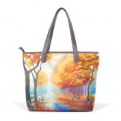 Coosun Womens Mist In The Fall Pu Leather Large Tote Bag Handle Shoulder Bag