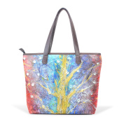 Coosun Womens Mirrored Lenses Trees Pu Leather Large Tote Bag Handle Shoulder Bag