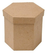 Group of 6 Hexagon Paper Mache Boxes with Lids for Crafting, Creating and Designing