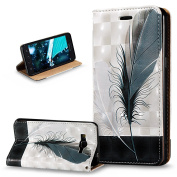 Galaxy Grand Prime Case, Grand Prime Cover,ikasus 3D Painted Embossed Premium PU Leather Fold Wallet Pouch Case Flip Stand Credit Card ID Holders Case Cover for Galaxy Grand Prime,Black White Feathers
