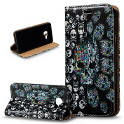 Galaxy A3 2016 Case,Galaxy A3 2016 Cover,ikasus 3D Painted Embossed Premium PU Leather Fold Wallet Pouch Case Flip Stand Credit Card ID Holders Case Cover for Galaxy A3 (2016) A310 12cm ,Skeleton Skull