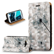Galaxy Grand Neo / Grand Neo Plus Case,ikasus 3D Painted Embossed PU Leather Fold Wallet Pouch Case Flip Stand Credit Card ID Holders Case Cover for Galaxy Grand Plus/Grand Neo/Grand Lite,Dandelion