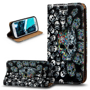 Galaxy Grand Neo / Grand Neo Plus Case,ikasus 3D Painted Embossed PU Leather Fold Wallet Pouch Flip Stand Credit Card ID Holders Case Cover for Galaxy Grand Plus/Grand Neo/Grand Lite,Skeleton Skull