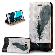 Galaxy J5 2016 Case,Galaxy J5 2016 Cover,ikasus 3D Painted Embossed Premium PU Leather Fold Wallet Pouch Case Flip Stand Credit Card ID Holders Case Cover for Galaxy J5 2016 J510F,Black White Feathers