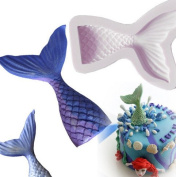 Small Size Christening Mermaid Tail Silicone Mould Fondant Cupcake Cake Decorating Baking Tools Handmade Soap Mould Fish Fork Tail