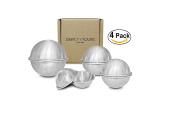 Stainless Steel Bath Bomb Mould Supply Set 4 Size Pack / 8 Piece Set, Small Medium Large Extra Large, 75 65 55 45 MM, Simply Yours Professional Quality, Heavy Duty, Food Grade, Dent Proof, Extra Bonus