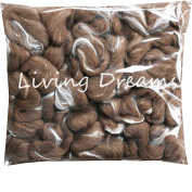 SHETLAND WOOL TUSSAH SILK Combed Top Roving for Spinning, Felting, Blending. Soft & Lofty Fibre Blend, Natural Moorit Brown