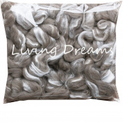 SHETLAND WOOL TUSSAH SILK Combed Top Roving for Spinning, Felting, Blending. Soft & Lofty Fibre Blend, Natural Grey