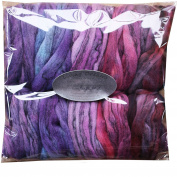 HAND DYED Merino Tencel SPINNING fibre. Super Soft Wool Top Roving drafted for Hand Spinning, Felting, Blending and Weaving. 5 beautifully coloured Mini Skeins DISCOUNT PACK, Purple Haze