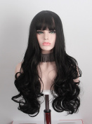 Anxin Long Curly Wigs Black with Bangs Kanekalon Heat Resitant Synthetic fibre hairs