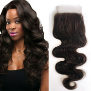 Peruvian Medium Brown Body Wave Lace Closure Bleached Knots Human Hair Weave Lac16inch