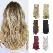 FUT 3-5 . 60cm 160g Curly Full Head 16 Clips in Double Weft Synthetic Hair Pieces Extensions 7 PCS for Girl Lady Women Rose Red