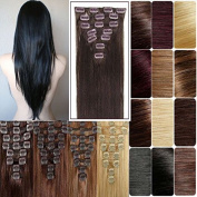 FUT 3-5 . 50cm 150g Straight Full Head Grade 7a 100 Percent Double Weft Human Hair Pieces Extensions 18 Clips in 8 PCS for Girl Lady Ash Brown Mix Bleach Blonde
