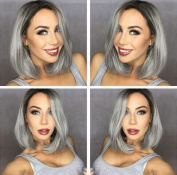 Ombre Grey Short Bob Lace Front Wigs Straight Synthetic Hair Glueless Wig With Baby Hair Middle Part For Women Heat Resistant 30cm