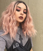 Short Bob Wavy Lace Front Wigs for Women Ombre Dark Roots to Mixed Pink Glueless Synthetic Wig with Baby Hair Heat Resistant 30cm