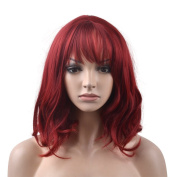 eNilecor Short Wigs for Women with Air Bangs 36cm Curly Synthetic Fashion Natural Colour Hair Replacement Harajuku Custom Party Wig+ Free Wig Cap
