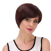 100% Real Hair Short Wigs with Bangs for White Women Brown Straight Hair Costume Wigs