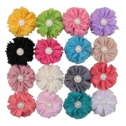 Deercon 16 Colours Retro Shabby Hair Flower Summer Style Shiny Rhinestone Pearl Hair Bows Clips for Girls
