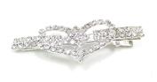 Women's Full Rhinestone Heart Shape Hair Pin Barrette Clip Accessary for Bridal Wedding