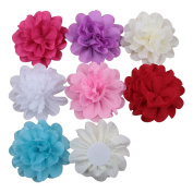 Deercon 7 Colours Soft Chiffon Large Flower Baby Girls Women Boutique Hair Clips