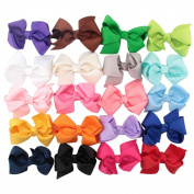 Deercon 20 Colours Baby Girl Grosgrain Ribbon Hair Bows Alligator Clips For Teens Kids Toddlers Children