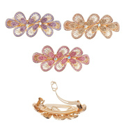 3pcs Hand crafted Sparkling Stone Flower Hair Clips Rhinestone Large Hair Barrettes for women