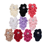 Deercon 10 Colours Satin Rhinstone Boutique Girls Baby Hair Bows Clips