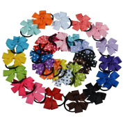 Bzybel 30pcs Boutique Baby Girls 7.6cm Grosgrin Ribbon Hair Bows Ponytail Holderes Hair Ties for Teens and Young Women 14pcs Polka Dots + 16 Solid Bows