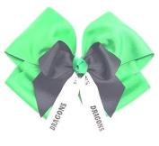 Custom Mascot Extra Large Quad with Mini Bow, Made in the USA, Pick your Mascot & Colours, Black Pony Band or French Clip