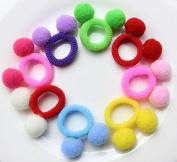 Cuhair 20pcs elastic velvet ball for girl ponytail holder hair tie rope rubber accessories