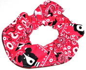 Red Bandana Dog Print Hair Scrunchies Set of 2 Ponytail Holders Handmade by Scrunchies by Sherry