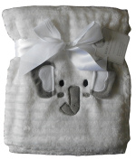 Baby Boys Girls Fluffy Ribbed White Elephant Blanket Wrap 100cm x 75cm approx