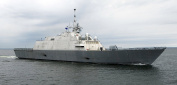 The first U.S. Navy Littoral Combat Ship, Freedom (LCS 1), the inaugural ship in an entirely new cla