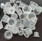 Black Menba #9 #12 #15 Mixed Sizes Plastic Tattoo Ink Caps Cups with Transparent acrylic holder -- Each Sizes OF 100 PCS