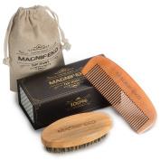 Magnifeko Beard Comb & Brush - SET - for Men, Wood COMB, 100% Natural Boar Bristle BRUSH,