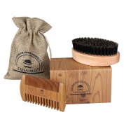 Beard Brush & Beard Comb Kit -TailaiMei 100% Natural Boar Bristle and Handmade Beard Comb Set for Stylish Men- Great for Facial Hair Care and Grooming Beards & Moustache - Gift Box, Travel Bag Included