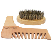 Beautyours Natural Bamboo Beard brush and comb- Beard Trimmer Shaping Tool for Men, It's easy for you to brush your beard