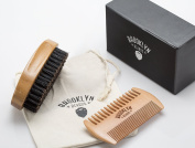 Moustache Beard Kit for Men - Boar Bristle Bamboo Brush to Condition Beard, 2 Sided Pear Wood Beard Comb, Canvas Travel Bag in Luxury Gift Box