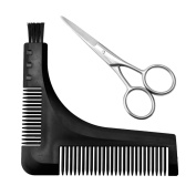 Beard Comb Shaping Tool and Scissors Kit Quality Protective Sleeve Shaper and Styling Template Comb Tool By MS.CLEO