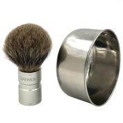 Genuine Badger Brush Anodizing Aluminium Alloy Brush Handle + Stainless Steel SUS420 Shaving Soap Bowl/Mug for Gentleman