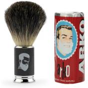 Rusty Bob - Shaving brush badger-silver-tip badger-bristle-chrome + Arko Shaving set - Black silver