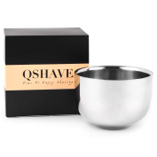 QSHAVE Stainless Steel Shaving Bowl Brushed Shinning Finish Shave Double Layer Mug Soap Cup