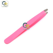 G.S PROFFESIONAL PINK colour EYEBROW TWEEZER SLANTED HAIR BEAUTY WOMAN BEAUTY MAKEUP BEST QUALITY