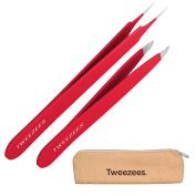 Tweezees Precision Stainless Steel Tweezers - Professional Slant Tip & Splinter Tip Tweezer - Extra Sharp Hair Removal Tool - Best Set for Eyebrow Shaping